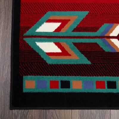 Premium Black/Red 8 ft. x 11 ft. Indoor Area Rug