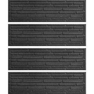 Broken Brick  8.5 in. x 30 in. Stair Treads (Set of 4) Charcoal