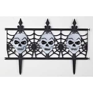 12 in. Plastic Decorative Halloween Skull Garden Fence (Set of 8)