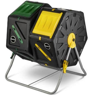 Dual Chamber Outdoor Garden Tumbling Composter (2 x 18.5 Gal./70 L) w/ Easy-Turn System - Gardening Gloves Included