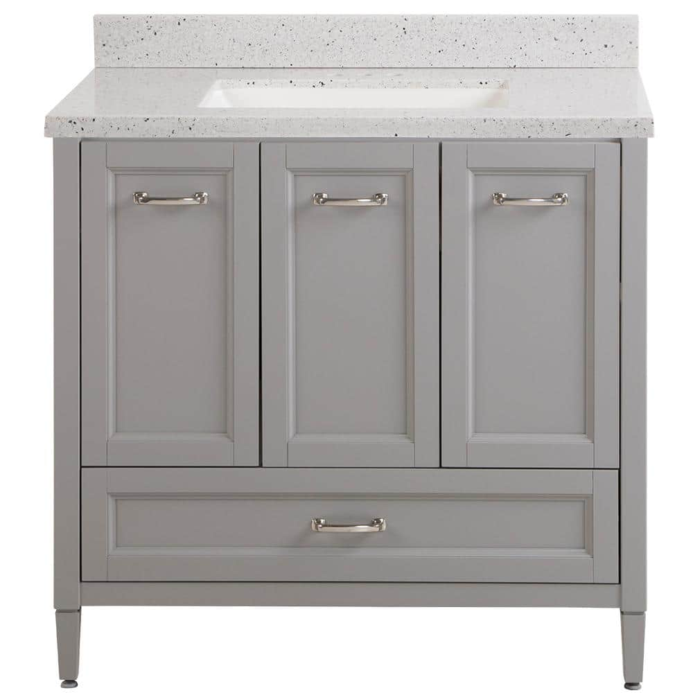 Home Decorators Collection Claxby 37 In W X 22 In D Bath Vanity In Sterling Gray With Solid Surface Vanity Top In Silver Ash With White Sink Cb36p2v2 St The Home Depot