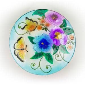 18 in. Glass Birdbath Topper with Colorful Butterfly and Flowers