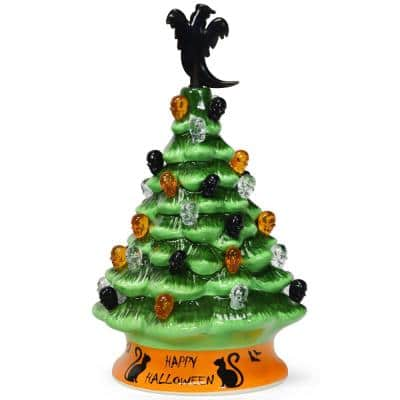 11.5 in. Green Battery Powered LED Haunted Halloween Tree