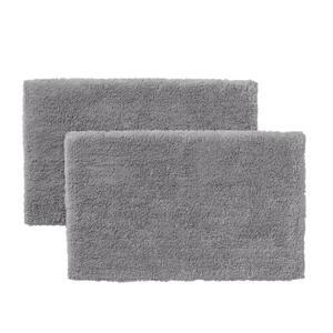 Stone Gray 25 in. x 40 in. Non-Skid Cotton Bath Rug (Set of 2)