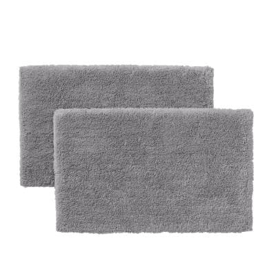 Stone Gray 25 in. x 40 in. Non-Skid Cotton Bath Rug (Set of 2)