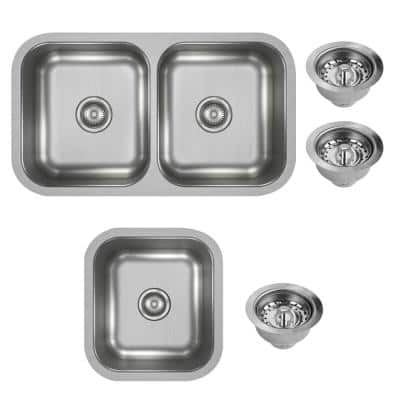 Dayton Undermount Stainless Steel 32 in. Double Bowl Kitchen Sink with 17 in. Bar Sink and Drains