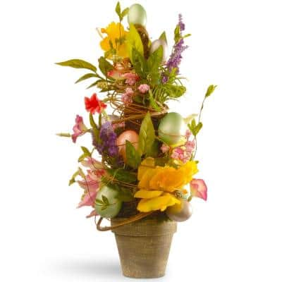 20 in. Decorated Easter Pot with Tulip and Eggs