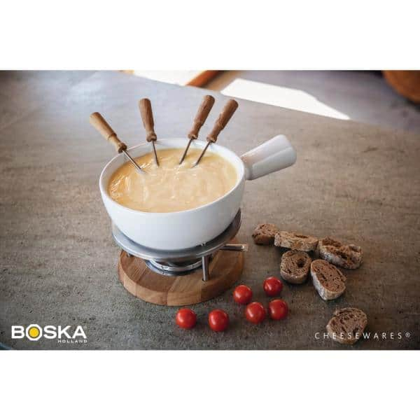 Boska Exclusive Collection 6 Piece Ceramic Fondue Set In White 340029 The Home Depot