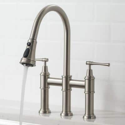 Allyn Transitional 2-Handle Bridge Kitchen Faucet with Pull-Down Sprayhead in Spot Free Stainless Steel