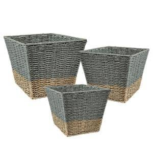 16.5 Gal. Seagrass Storage Baskets in Blue and Grey (3-Pack)
