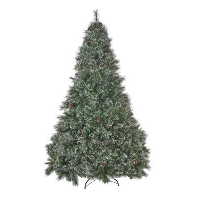 9 ft. Unlit Cashmere and Mixed Spruce Artificial Christmas Tree with Snowy Branches and Pinecones