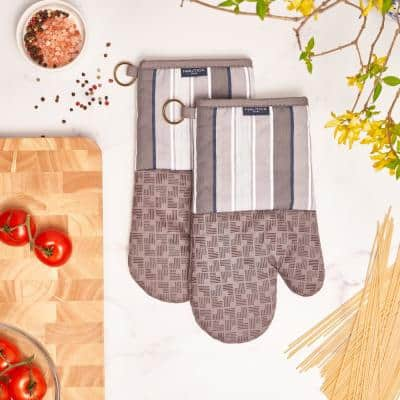 Grey Multi Stripe 100% Cotton Oven Mitts With Silicone Grip (Set of 2)