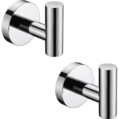 Round Bathroom Robe Hook and Towel Hook in Polished Chrome (2-Pack)