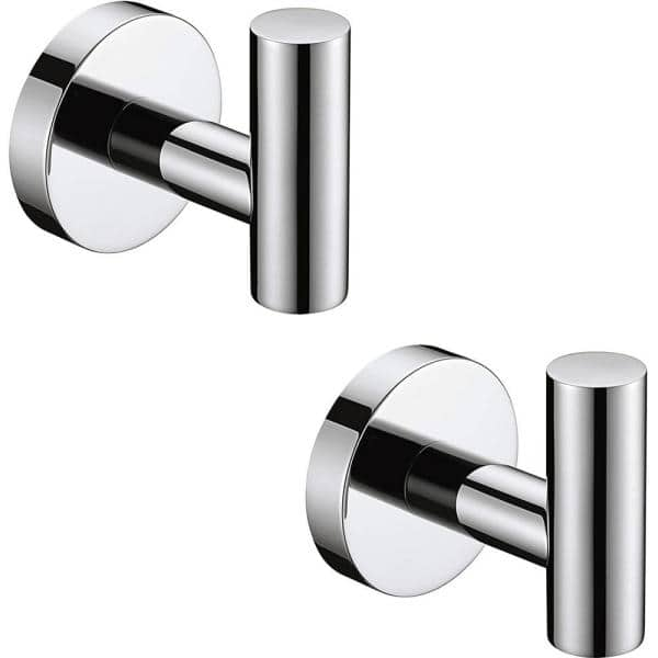 Ruiling Round Bathroom Robe Hook And Towel In Polished Chrome 2 Pack Atk 204 The Home Depot