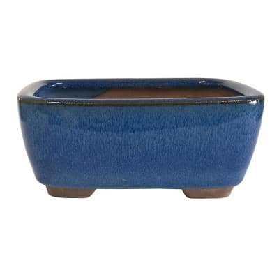 Small Blue Rectangle Indented Corner Pot