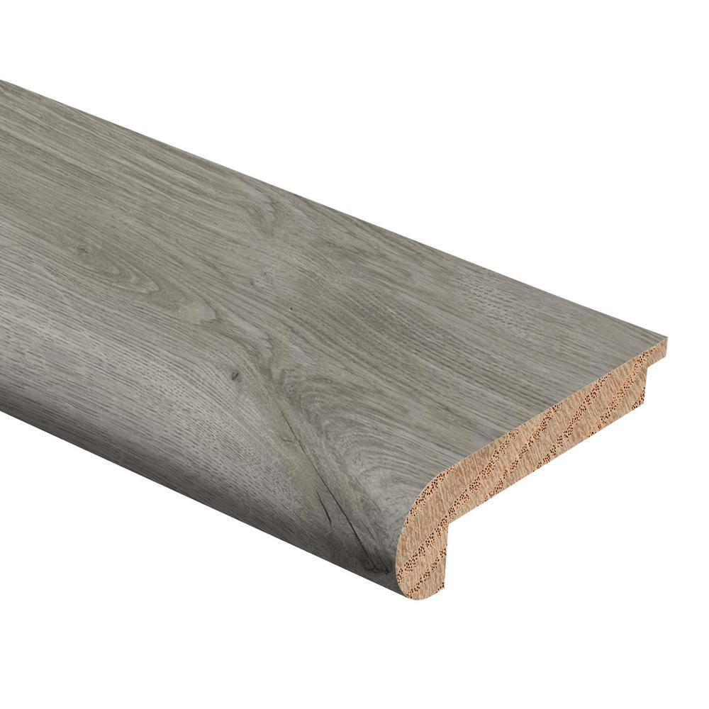 Zamma Castle Gray Oak 1/2 in. Thick x 2-3/4 in. Wide x 94 in. Length Hardwood Stair Nose Molding Flush