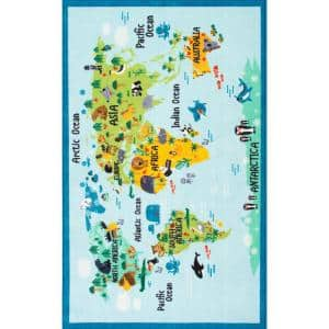 Animal World Map Playmat Baby Blue 7 ft. x 9 ft.  Area Rug