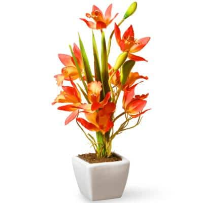 13 in. Artificial Yellow and Orange Orchid Flowers