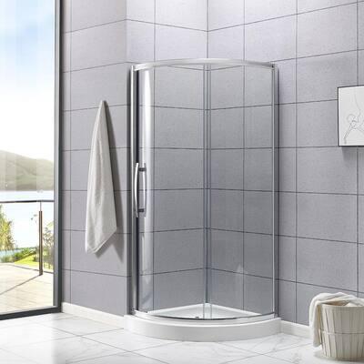Maia 34 in. x 72.80 in. Semi-Frameless Sliding Shower Door in Chrome with 34 in. x 34 in. Base in White