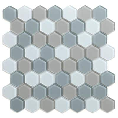 Take Home Sample Aurora Mixed Colors 4 in. x 4 in. Glass Peel and Stick Wall Mosaic Tile