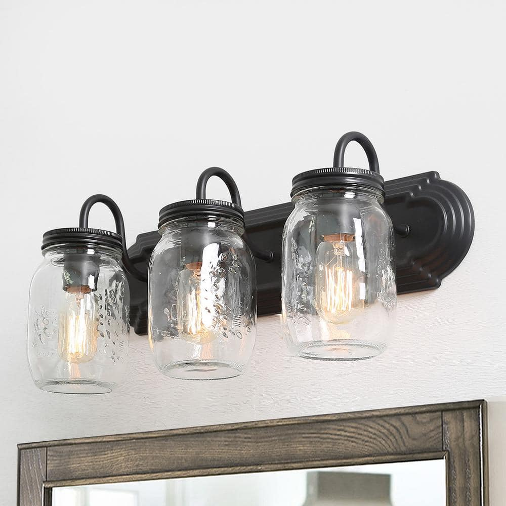 Lnc Mina 3 Light Oil Rubbed Dark Bronze Farmhouse Vanity Light Industrial Bath Wall Light With Clear Mason Jar Glass Shades A02980 The Home Depot