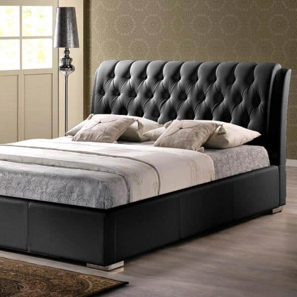 Baxton Studio Bianca Transitional Black, Leather Upholstered Queen Size Bed Frame