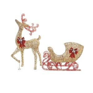 5 ft. 100-Light Gold Reindeer with 44 in. Sleigh Outdoor Christmas Decor