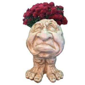 13 in. Antique White Grumpy the Muggly Face Statue Planter Holds a 5 in. Pot