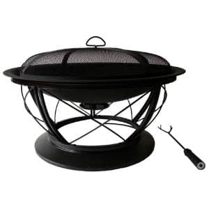 Palmetto 30 in. x 19 in. Round Steel Wood Fire Pit in Rubbed Bronze with Cooking Grid