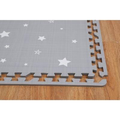 Soft Eva Foam Play Mat Flooring Tiles, Gray, 24 in. x 24 in. (4 sq. ft.) (6-Piece)