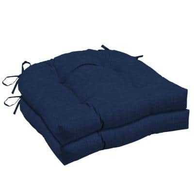 Leala Texture 20 in. x 18 in. Rectangle Outdoor Seat Cushion in Sapphire (2-Pack)