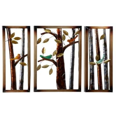 44 in. x 32 in. Trees and Birds Iron Wall Plaque (Set of 3)