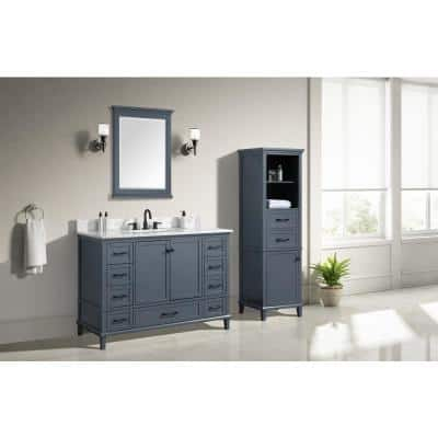 Merryfield 49 in. W x 22 in. D Bath Vanity in Dark Blue-Gray with Marble Vanity Top in Carrara White with White Basin