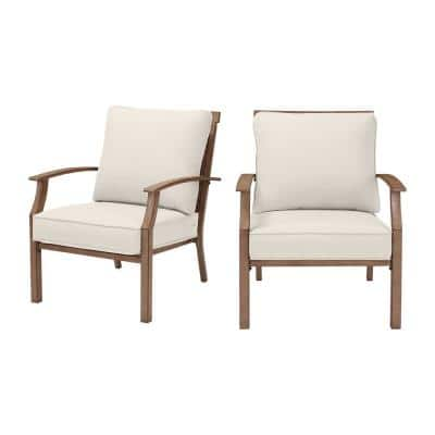 Geneva Brown Wicker and Metal Outdoor Patio Lounge Chair with CushionGuard Almond Tan Cushions (2-Pack)