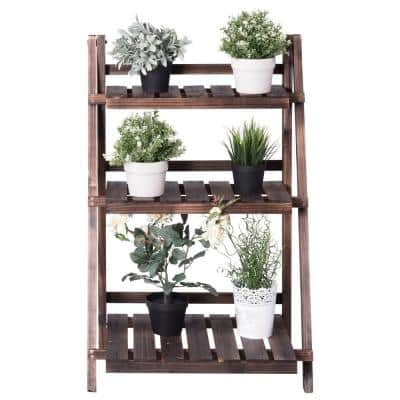 24 in. x 15 in. L x 37 in. Ladder Indoor Outdoor Brown Wood Plant Stand (3-Tiers)