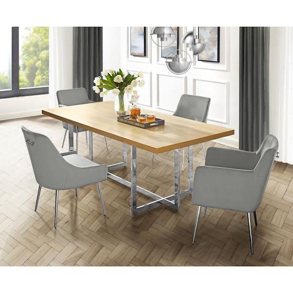Oak Wood Veneer Dining Table, Dining Room Set Metal Legs