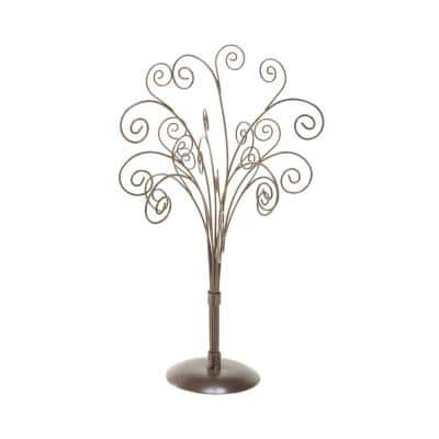 16.5 in. 11-Arm with 22 Scrolls Bronze Metal Table Top Tree (1-Pack)