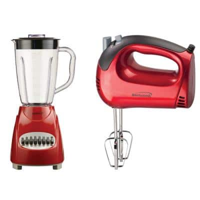 50 oz.12-Speed Red Countertop Blender with Electric Hand Mixer