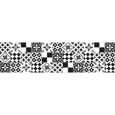 Black and White Azulejos Peel and Stick Backsplash Wall Decal