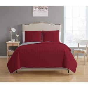 Bethany Reversible 3-piece Burgundy/Grey King Quilt Set