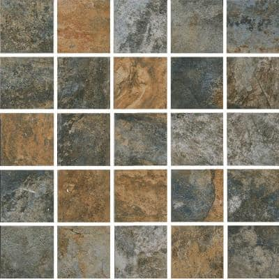 Hematite Autumn 12 in. x 12 in. x 8 mm Porcelain Mesh-Mounted Mosaic Floor and Wall Tile (9.56 sq. ft./case)