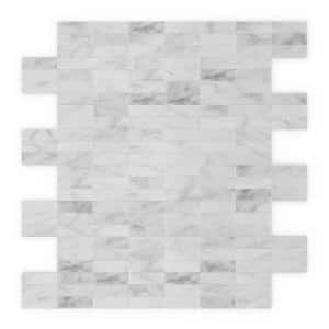 Freezy Natural White 11.42 in. x 11.57 in. x 5mm Stone Self Adhesive Wall Mosaic Tile
