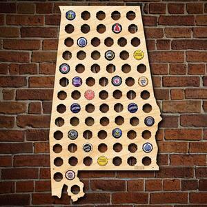 ''Alabama Beer Cap Map'' Large Wall Decor