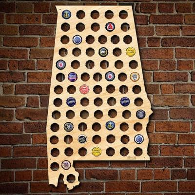 """""""Alabama Beer Cap Map"""" Large Wall Decor"""