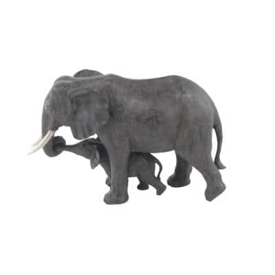 Mother and Offspring Elephants Polystone Sculpture