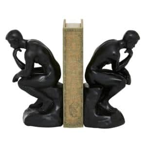 5 in. x 8.75 in. Black Polystone ''The Thinker'' Bookends (Set of 2)