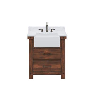 Paisley 31 in. W x 22 in. D Vanity in Rustic Sienna with Marble Vanity Top in White with White Basin