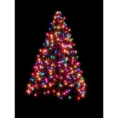 4 ft. Indoor/Outdoor Pre-Lit Incandescent Artificial Christmas Tree with Green Frame and 300 Multi-Color Lights