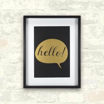 11 in. x 14 in. Hello - Gold 1-Piece Framed Artwork with Mat and Metallic Screenprint
