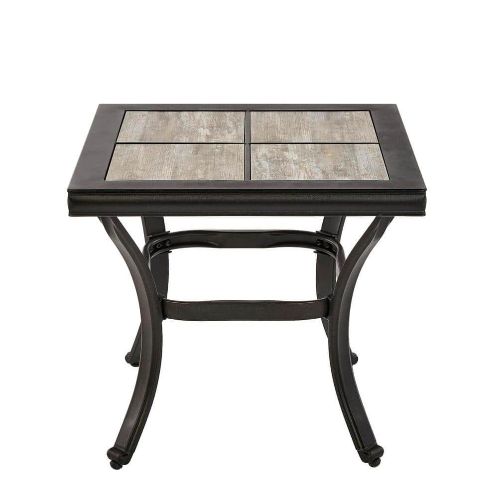 hampton bay crestridge steel outdoor patio side table with tile top fts61215e the home depot